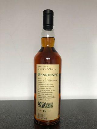 Benrinnes 15 single malt whiskey
