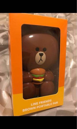 Line friends brown portable fan