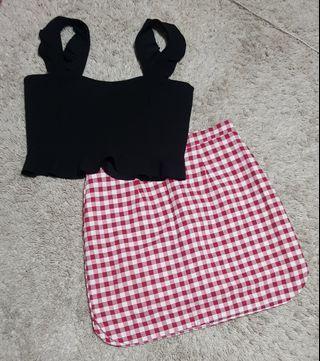 Cammie set    Crop Black Peplum Top ruffled top ruffled sleeve top and Red gingham korean ulzzang scalloped hem mini skirt