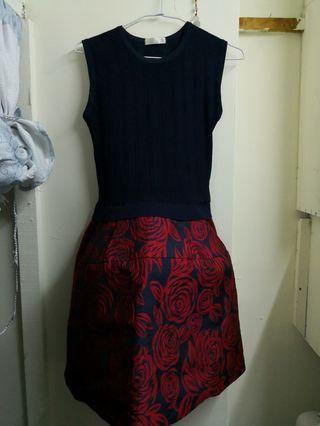 🚚 針織衣 玫瑰連身裙