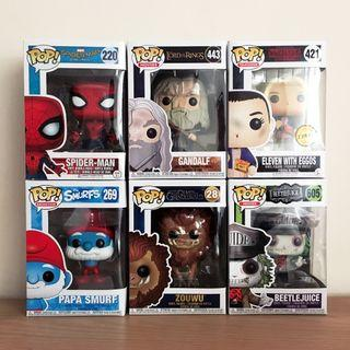 Funko Pop (Spiderman Homecoming, Gandalf, Eleven Chase, Papa Smurf, Zouwu, Beetlejuice Guide)