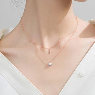 🚚 Layered rose gold pendant -  Korean - Minimalist - S925 - Sterling Silver