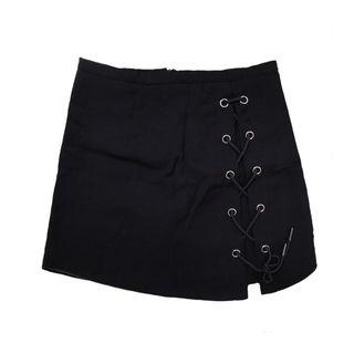 🚚 Black Lace Up Skirt