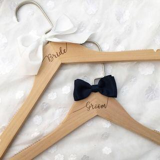 [Sale] Bride and Groom Engraved Wedding Hangers