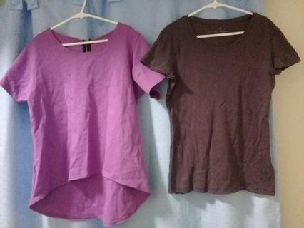 Pink long top with back zipper and banana republic brown top