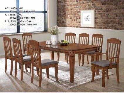 (1+8 oak ) solid wood dining set