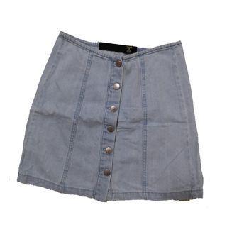 Blue & Black Denim Button Down Skirt