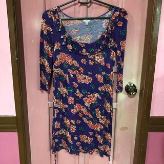 Purple Floral Cotton Dress