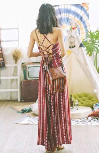 🚚 轉賣 波西米亞民族風 慵懶度假長洋裝 連衣裙