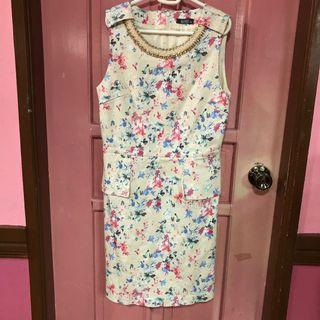 Cream Colored Floral Dress