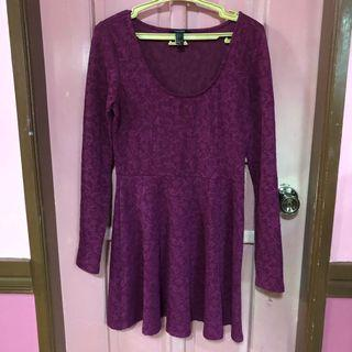Maroon Long Sleeves Dress