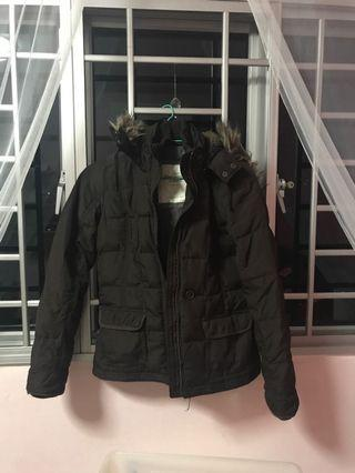 Authentic Abercrombie and Fitch brown winter down jacket