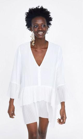 White Zara women pleated blouse