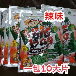 🚚 預購回國隔天寄!泰國小老闆海苔 大片包裝 一包10片 辣味海苔 零食 素食 零嘴 送禮