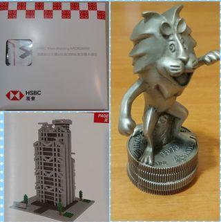 滙豐絕版罕有1973 匯豐卡通錫製獅子 (加) 總行微型積木模型匯豐總行大樓。 HSBC Cartoon Wayfoong Lion Paperweight ( Royal Selangor Pewter ) with HSBC Main building Microbrik (Nano Block) 匯豐銀行 獅子 Figure