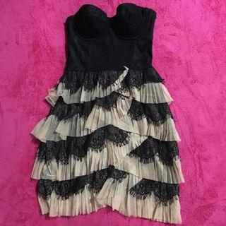 Black Tube Ruffle Dress