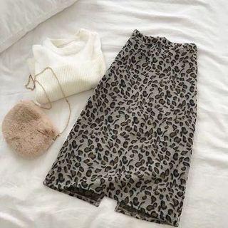 Ulzzang Chic Leopard Midi Skirt