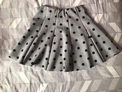 Polk-dotted Grey and Black Skirt