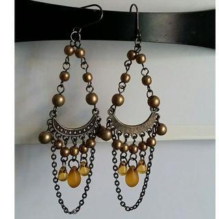 銅色配黃色石及珠仔長耳環Earrings
