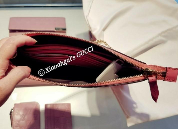 🔻NEGO if u able transfer🔻 Authentic seasonal limited rose pink Gucci gold chain porchette handbag clutch wallet (signature design)