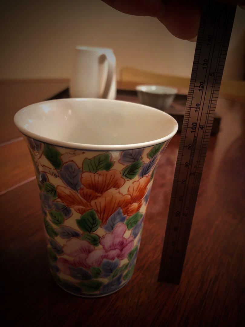 日本九谷燒「泰山」手描薄瓷杯