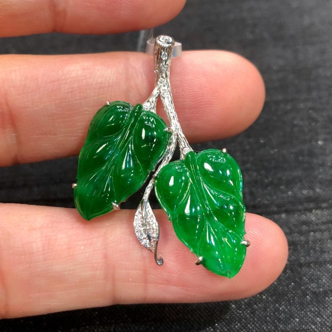 滿綠翡翠 - 鑲鑽樹葉掛墜 | 一件翡翠