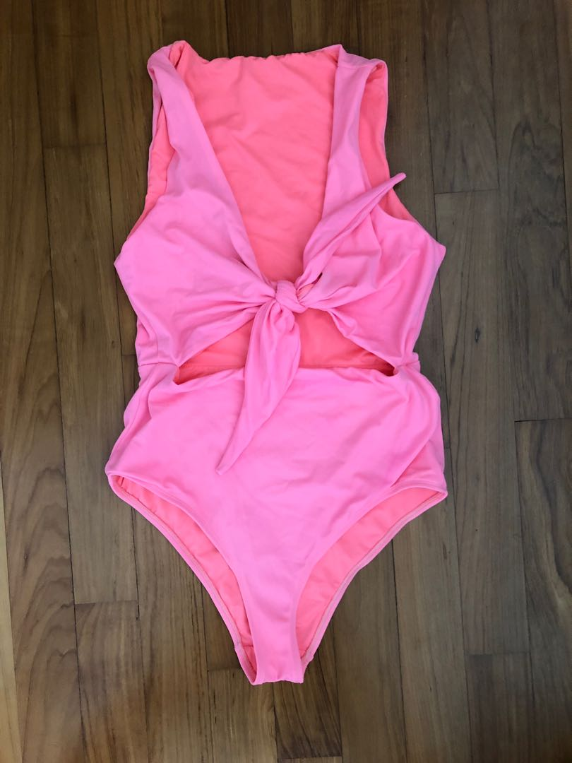 0bc0107b0d5d ASOS design tie front cut out swim suit neon coral pink, Women's Fashion,  Clothes, Others on Carousell