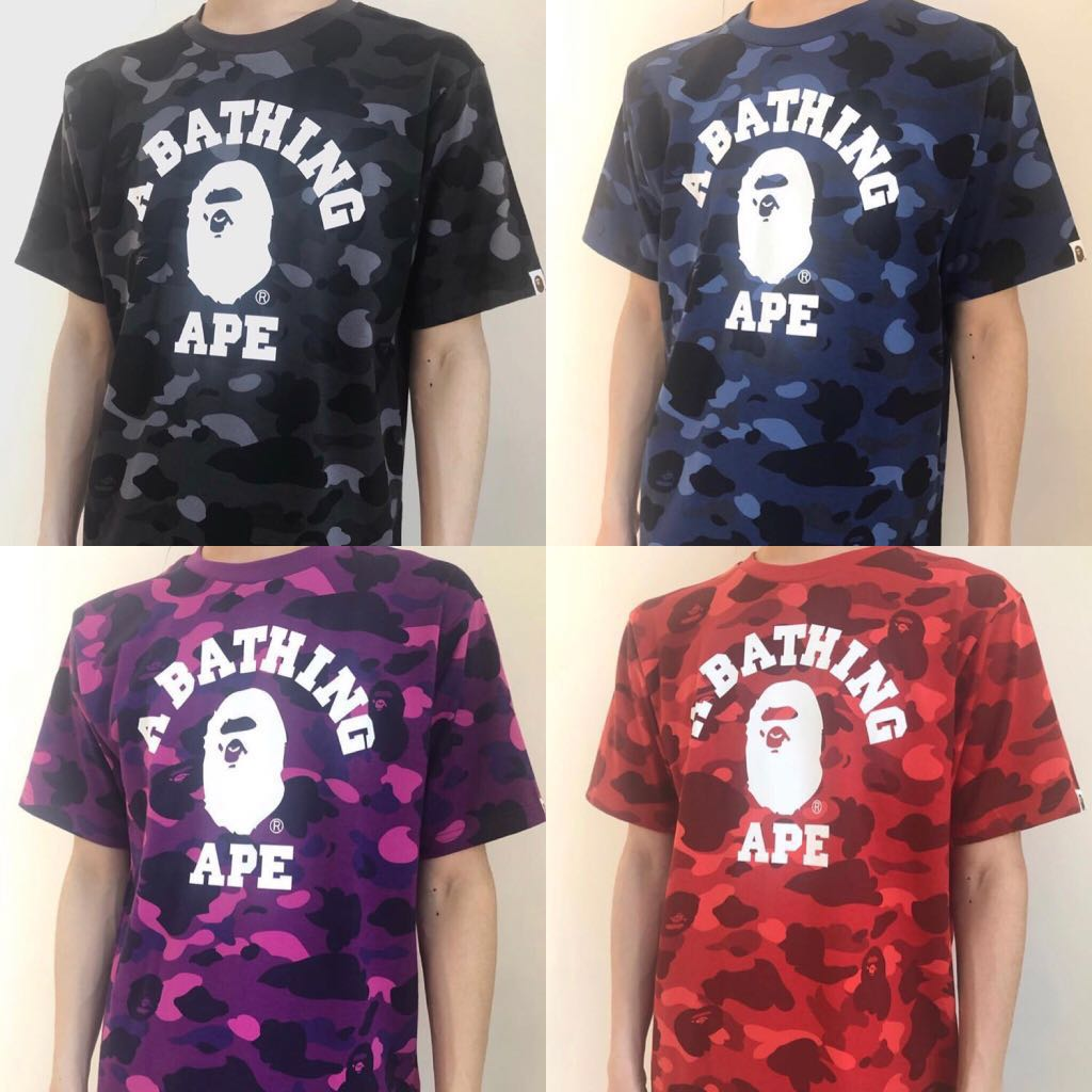 39ca96238 BAPE COLOR CAMO COLLEGE TEE, Men's Fashion, Clothes, Tops on Carousell