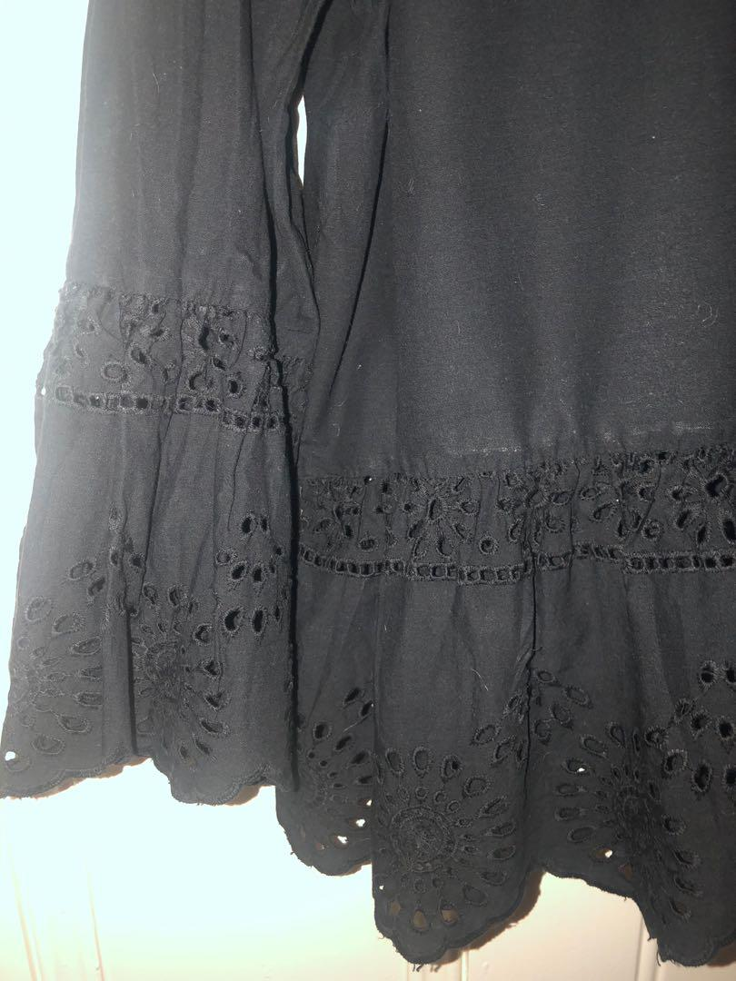 Beautiful black cotton top with bell embroidered sleeve bottom and embroidered bottom