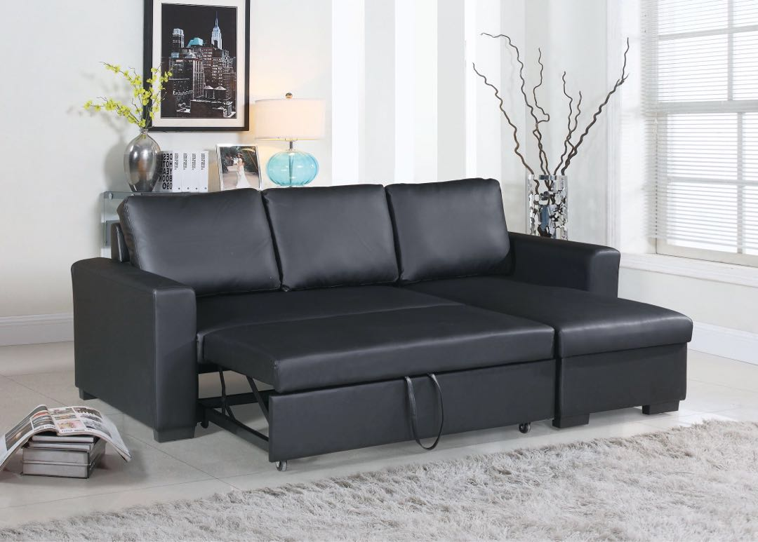 Black Faux Leather Sectional Sofa Bed Set Furniture On Carousell