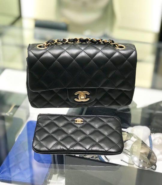 全新現貨Chanel Classic mini20cm羊皮金扣#MILAN02