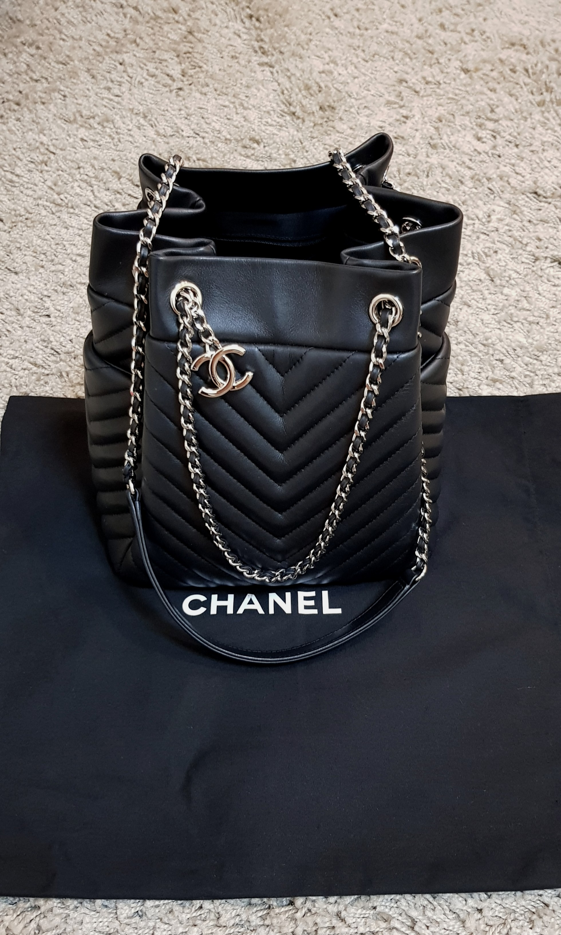 4db727e56bcc Chanel Urban Spirit Drawstring Bag, Luxury, Bags & Wallets, Handbags on  Carousell