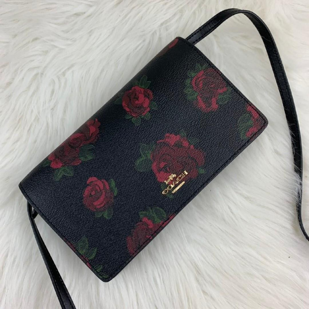 COACH FOLDOVER CROSSBODY CLUTCH WITH JUMBO FLORAL PRINT (COACH F67506) BLACK MULTI/BLACK/IMITATION GOLD