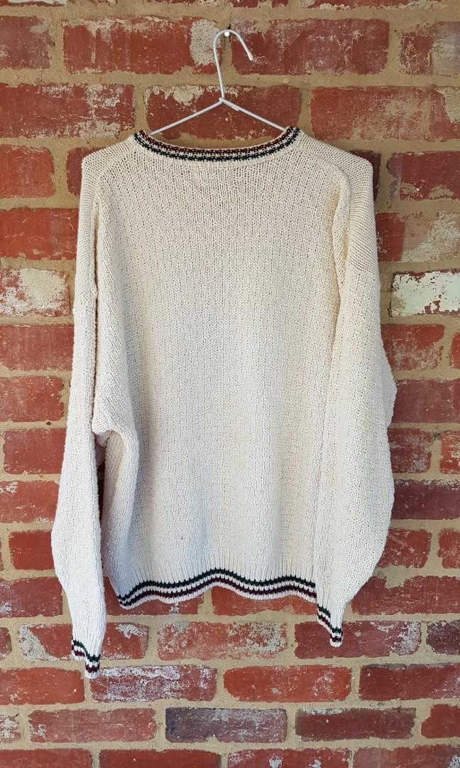 Cotton Harbor Horse Knit Cotton Top Made In USA L Jumper/Sweater