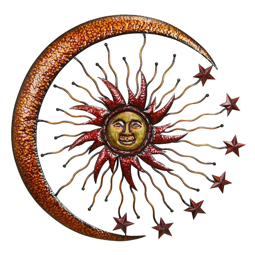 Eclectic Sun Moon Metal Wall Decor