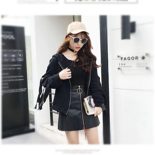 Gold Circle Chain Leather Skirt #HUAT50Sale, Women's Fashion