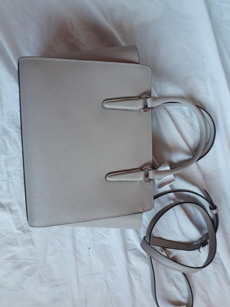 Grey/Light Taupe Coach Satchell with Shoulder Strap Purse