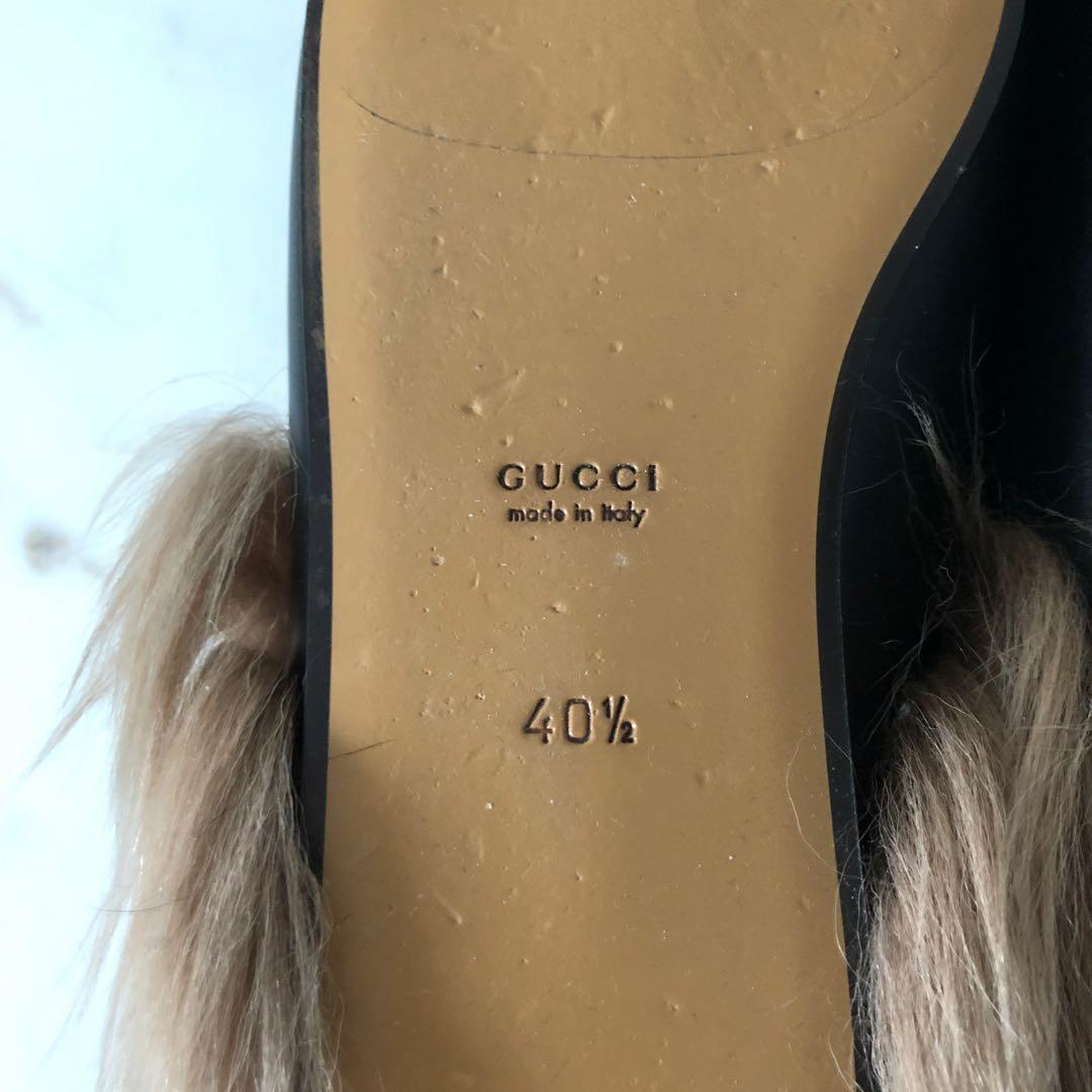 Gucci Black Wool Fur Lined Princetown Loafers Size 40.5