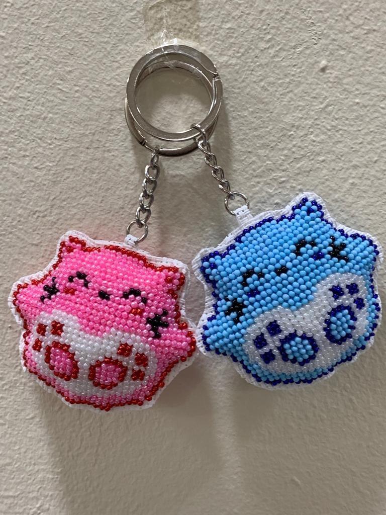 Handmade beaded Totoro keychains