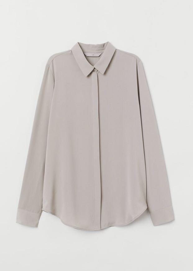 H&M Long Sleeve Blouse Taupe size 4