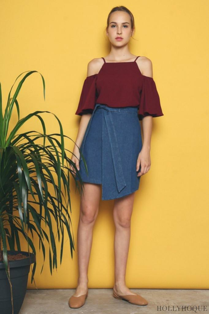 Hollyhoque Zera Flap Denim Skirt (Dark denim)