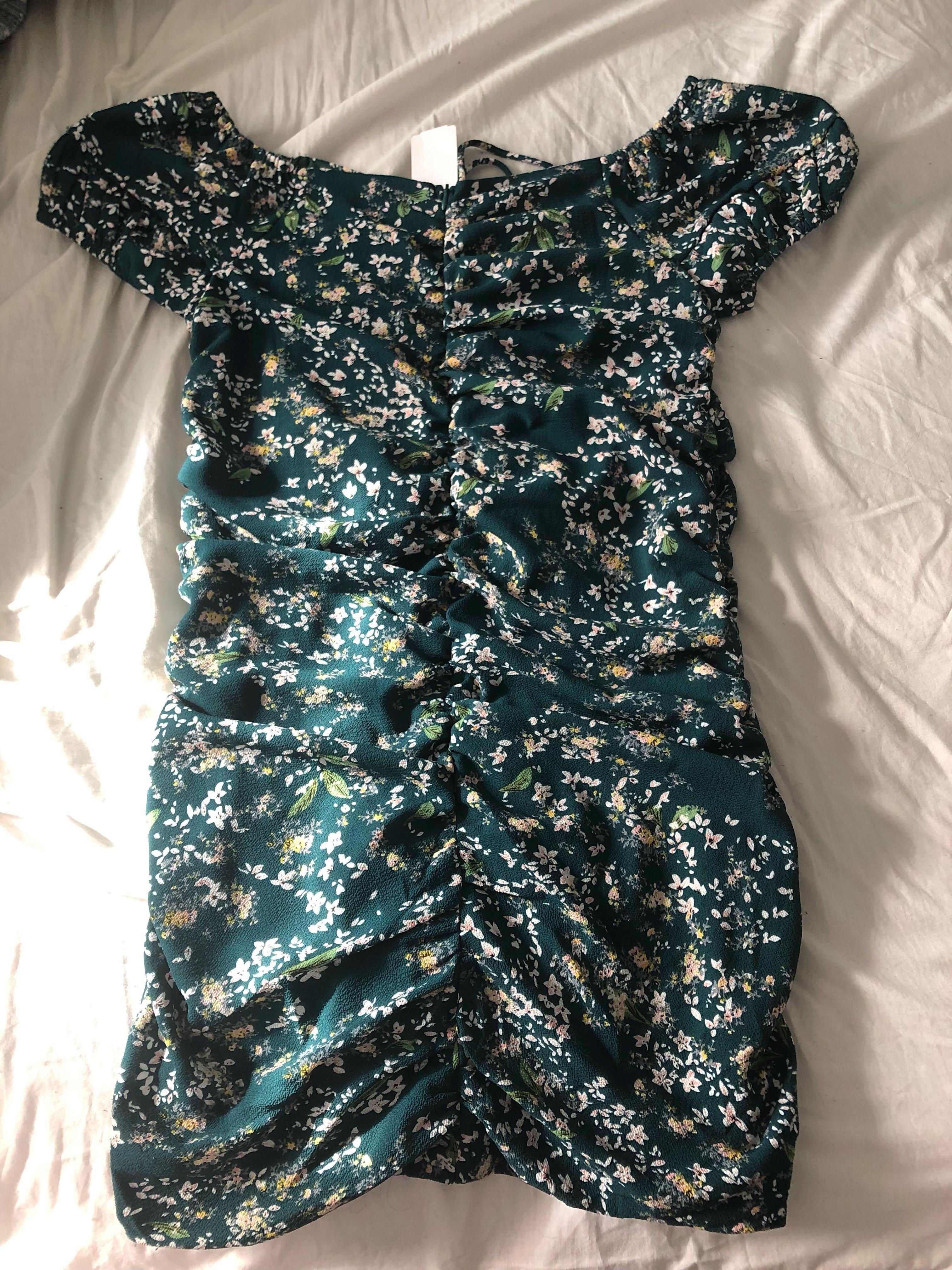 M Boutique Off the Shoulder Green Floral Ruched Dress