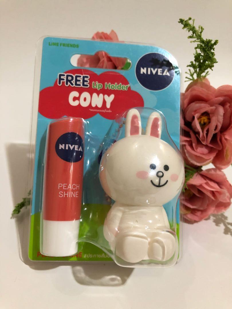 Nivea Lip Balm Peach Shine free Cony Lip Holder
