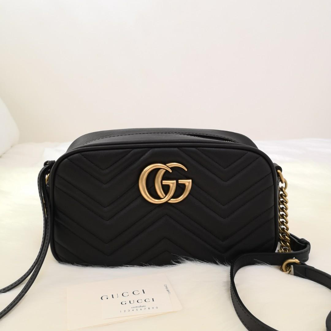 6e1930472e52 ON HAND: Authentic Gucci Small GG Marmont 2.0 Matelassé Leather Camera Bag  on Carousell