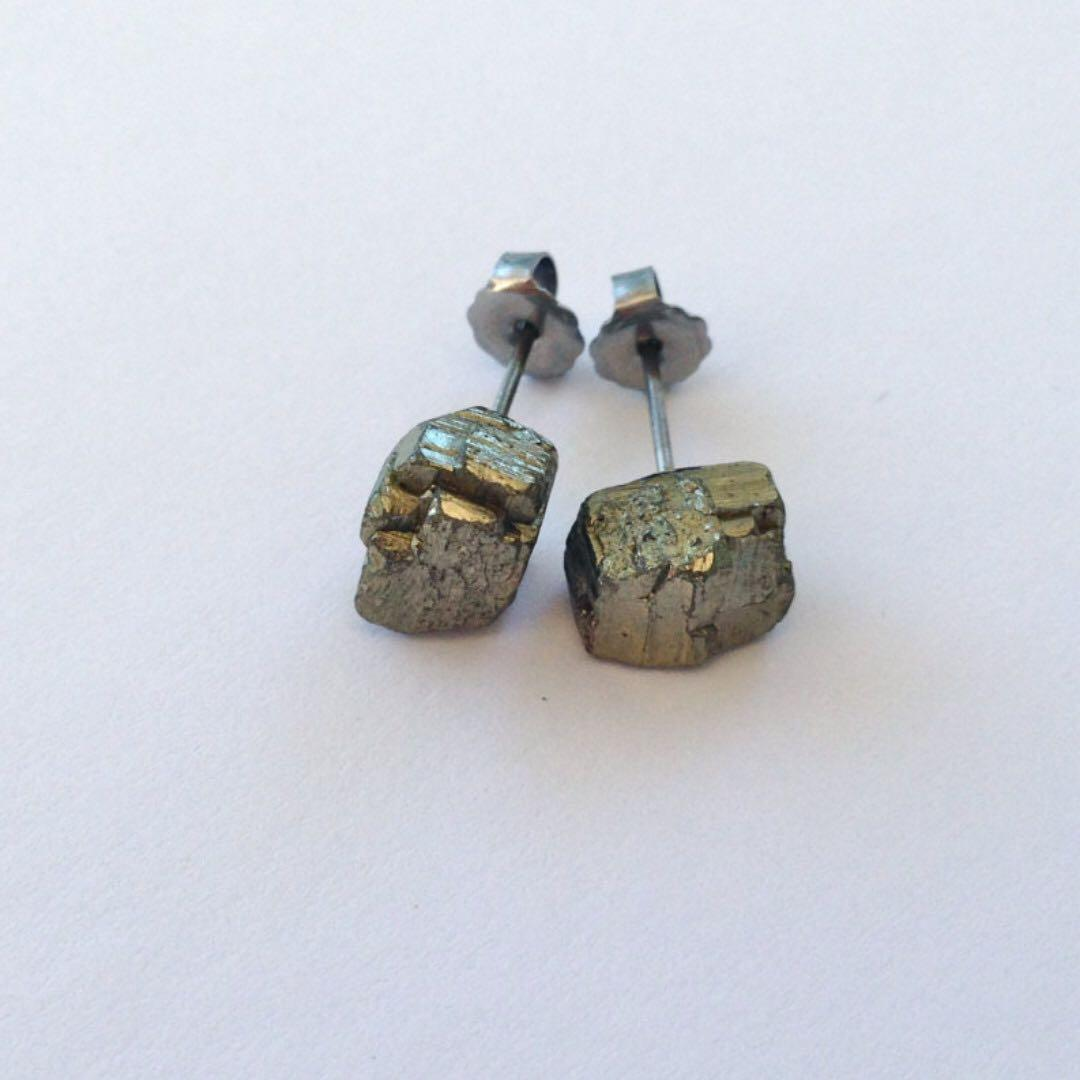 Raw mineral pyrite nugget chip minimal gold metallic crystal gemstone earring studs