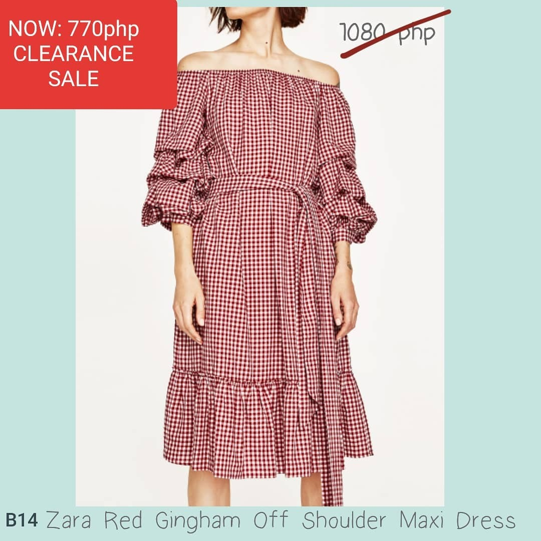 b0aa843e0a9b6 REPRICED from 1080php) Zara Red Gingham Off Shoulder Maxi Dress ...