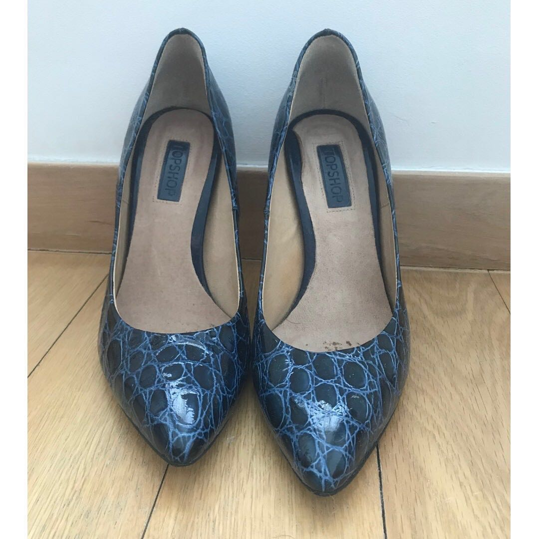4f100165373 Topshop Blue Snakeskin Heeled Court shoes, Women's Fashion, Shoes ...