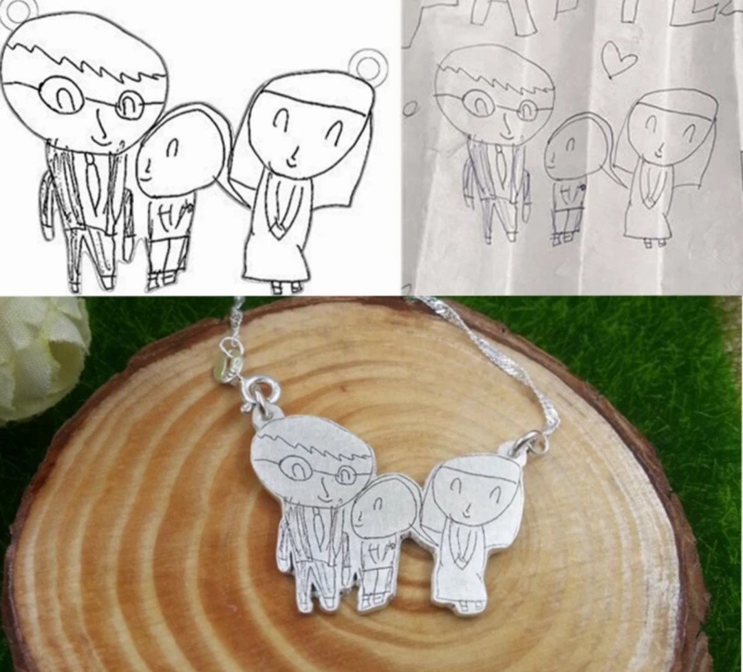 ffe9b5332 Turn Your Drawing and Photo into a Beautiful 925 Sterling Silver Necklace  and Keychain | Custom Engraved, Design & Craft, Others on Carousell