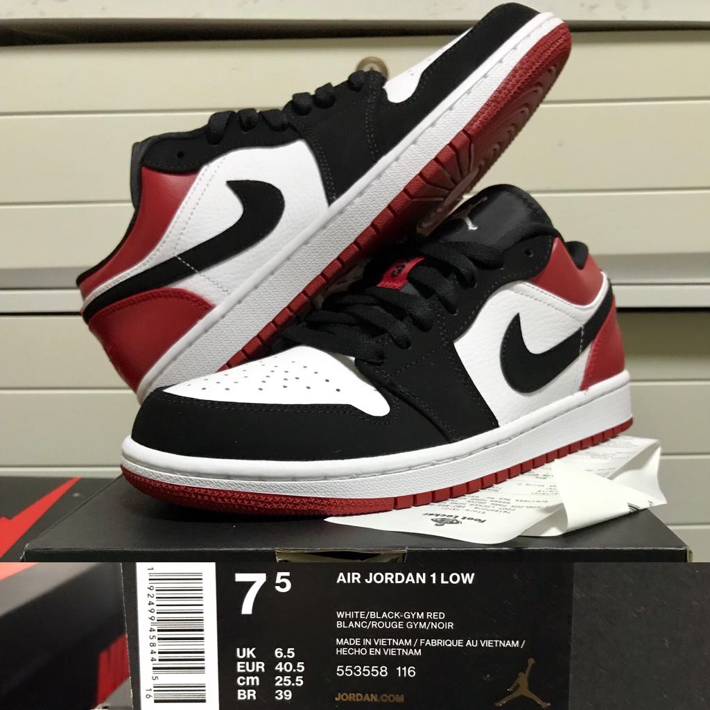 "online store 884b7 f5f87 (全新US7.5) Air Jordan 1 Low ""Black Toe 黑腳趾"" eur40.5 Nike OG Retro 553558-116  有正本收據, Men s Fashion, Men s Footwear on Carousell"