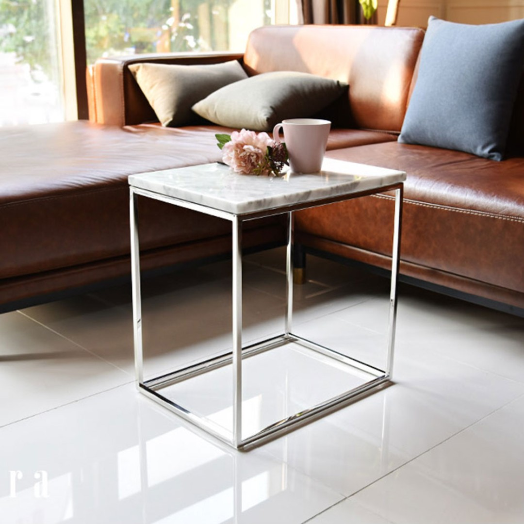 Marble And Silver Coffee Table.Yak Italian Natural Marble Coffee Table 450 Silver Frame